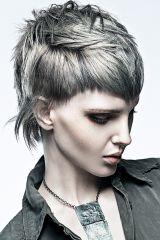 Stufen und eine tolle, trendige Farbe im angesagten Grau - das ist das Geheimnis dieser fransig geschnittenen Kurzhaarfrisur.